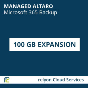 relyon Cloud Services, Managed Altaro Microsoft 365 Backup – 100 GB Expansion
